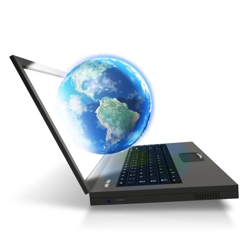 Clipart - Laptop Worldwide Connected