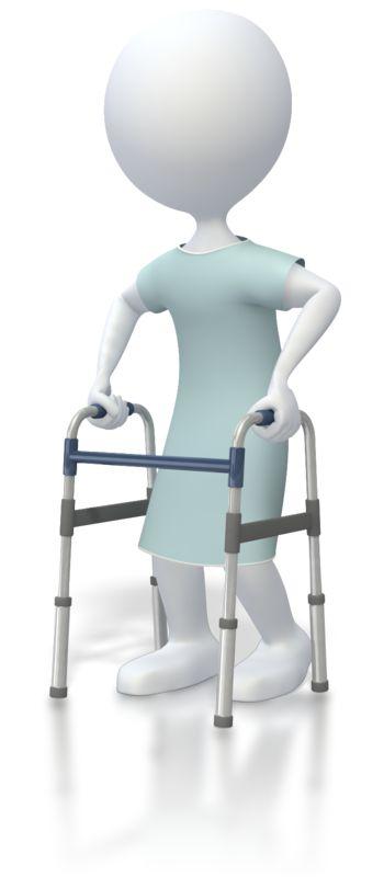 Clipart - Stick Figure Patient With Walker