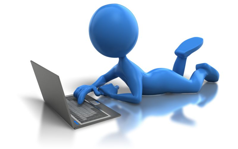 Clipart - Laying Low With Laptop