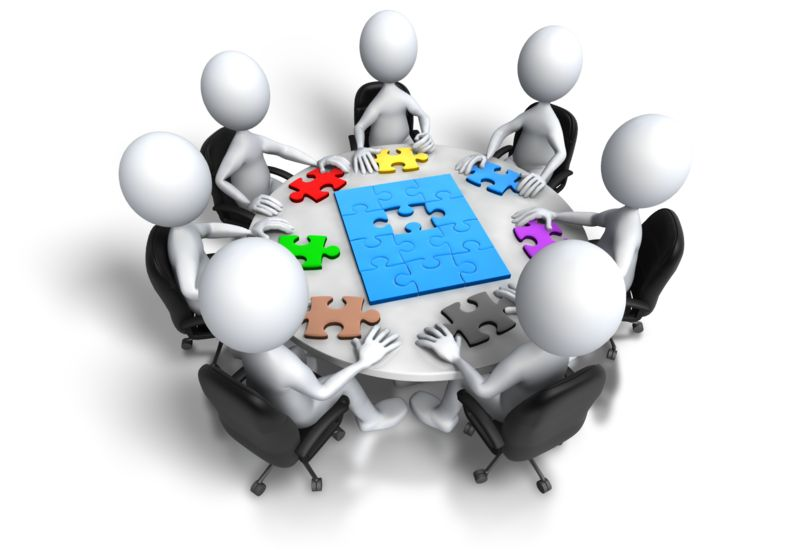 Clipart - Group Meeting Puzzle Final Step