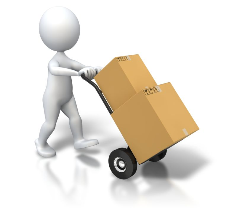 Clipart - Stick Figure Dolly Delivery Boxes