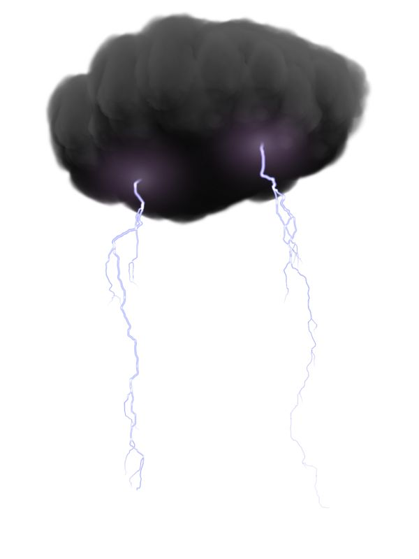 Clipart - Storm Cloud With Lightning