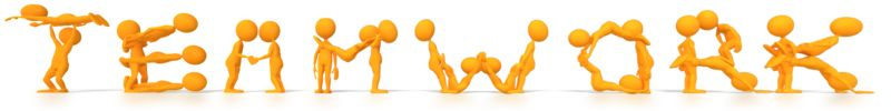 Clipart - Stick Figures Spelling Teamwork with the