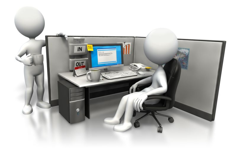 Clipart - Cubicle Morning Chat