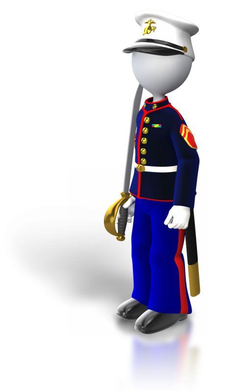 Clipart - Marine Standing Holding Sword