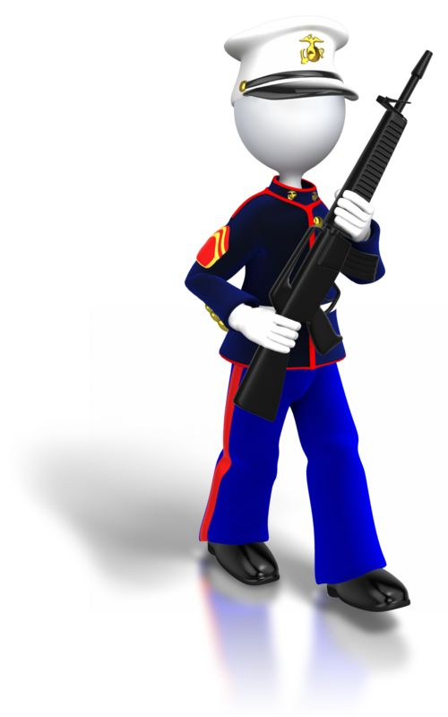 Clipart - Marine Walking Carrying Gun
