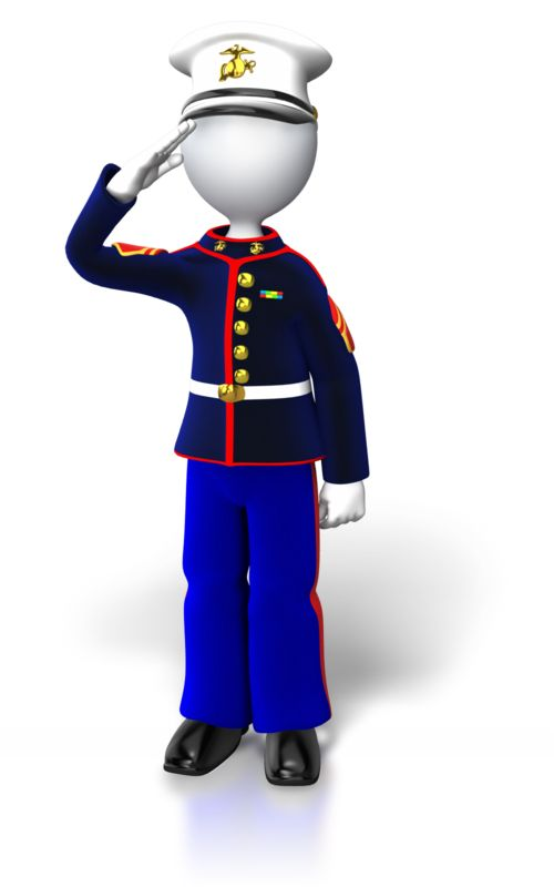 Clipart - Marine Stand Saluting
