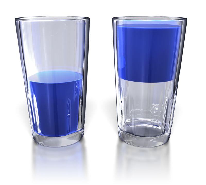 Clipart - Glass Half Full and Half Empty