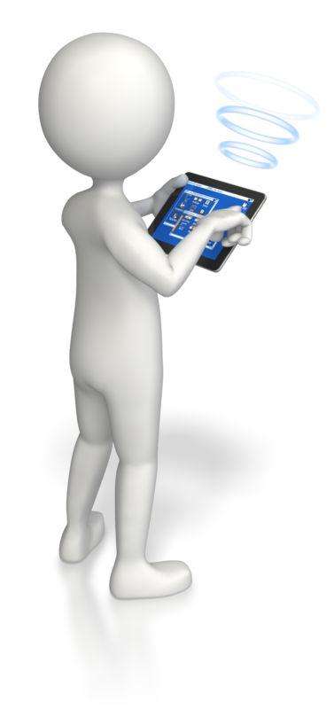 Clipart - Stick Figure Tablet Wireless Communicati