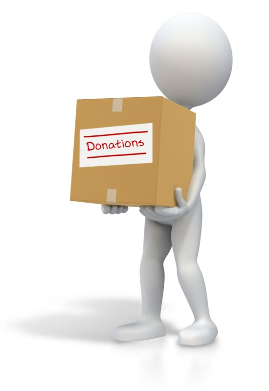 Clipart - Stick Figure Carrying Donations Box