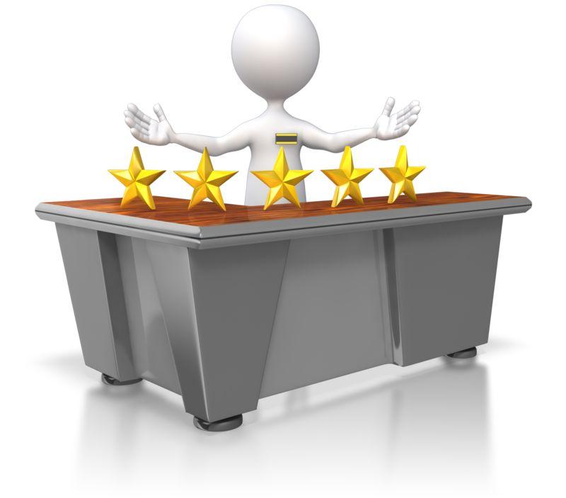 Clipart - Five Star Customer Service Stick Figure