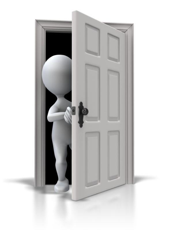 Clipart - Looking Out Six Panel Door