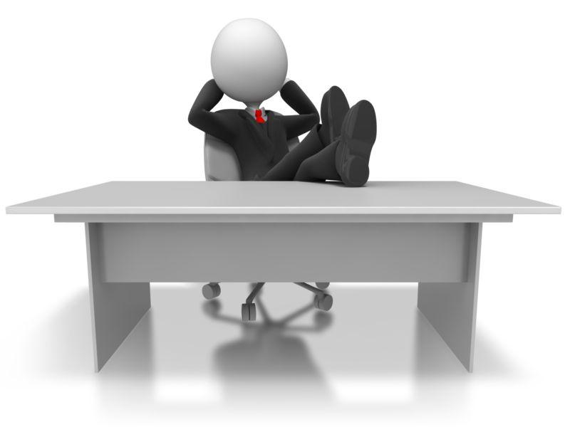 Clipart - Businessman Relax Desk