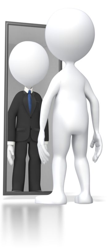 Clipart - Looking In Mirror Successful