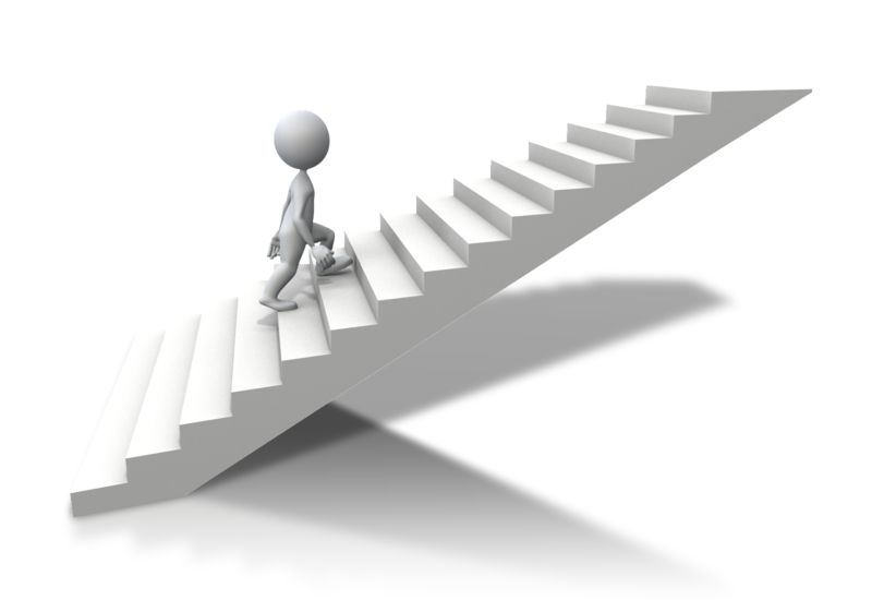 Clipart - Stick Figure Climbing Up Stairs