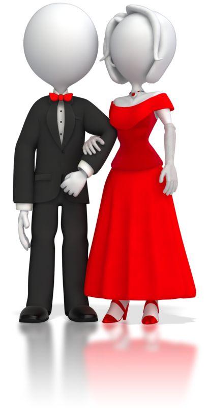 Clipart - Fancy Stick Figure Couple
