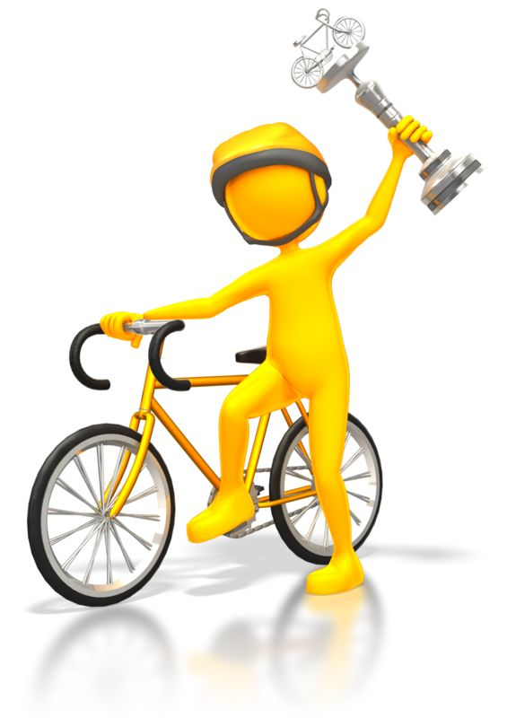Clipart - Cyclist Racer Wins Silver Trophy