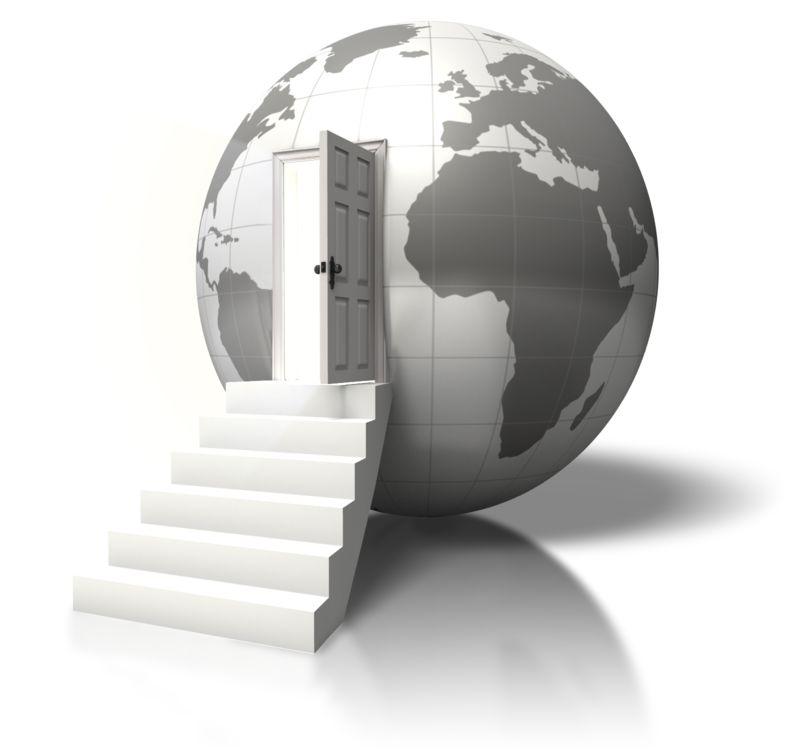 Clipart - Globe Open Door Enter