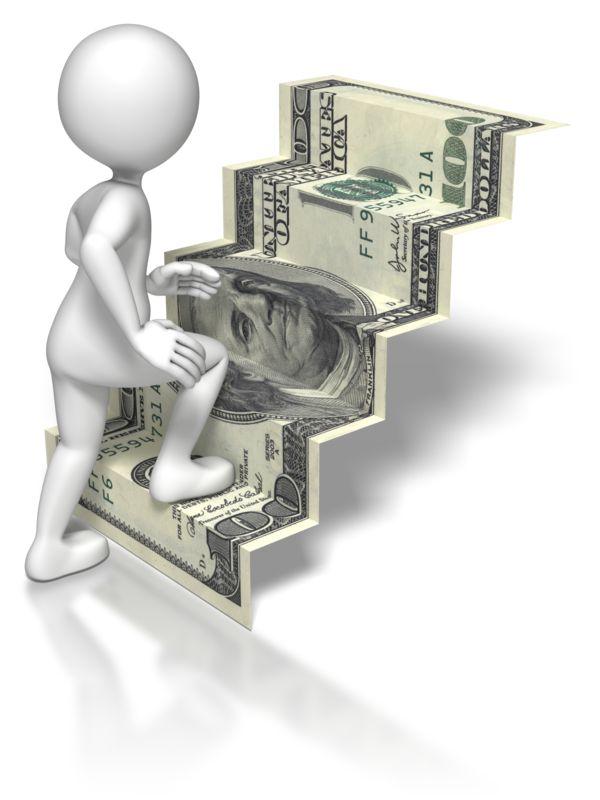Clipart - Stick Figure Climbing US Money Stairs
