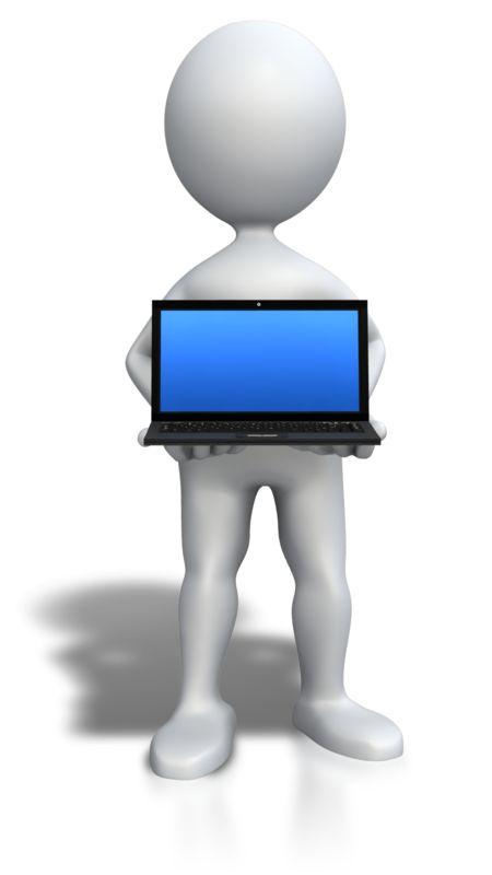 Clipart - Stick Figure Holding Laptop