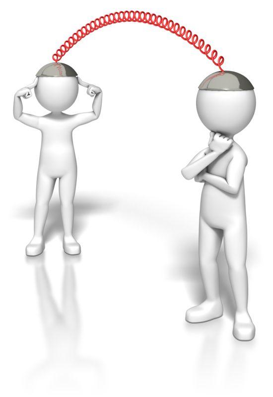 Clipart - Stick Figures Using Telepathy Caps