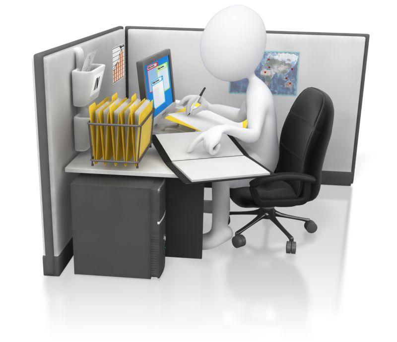 Clipart - Stick Figure Office Worker Hard At Work