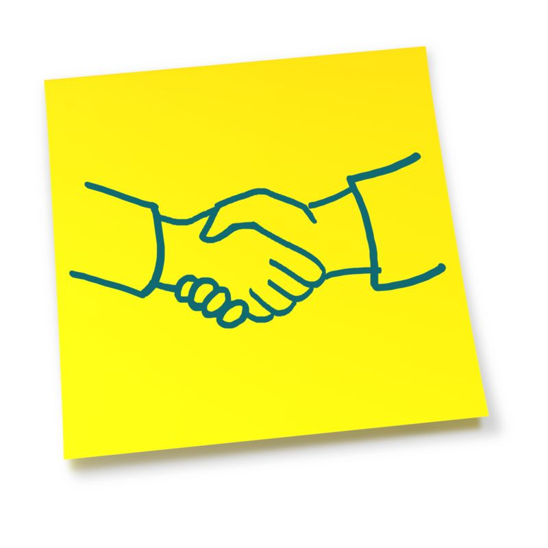 Clipart - Yellow Sticky Note Handshake