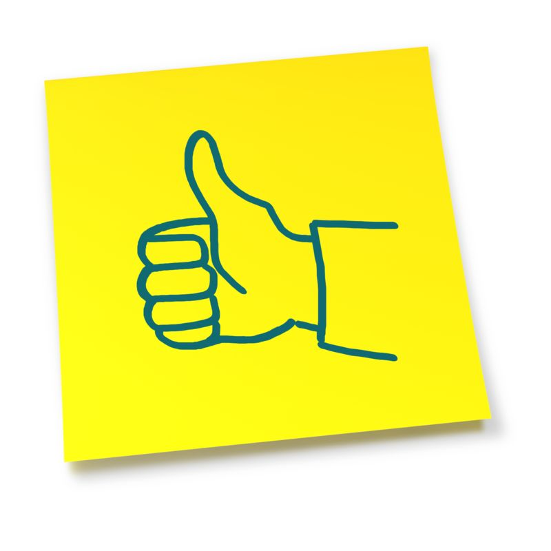 Clipart - Yellow Sticky Note Thumbs Up