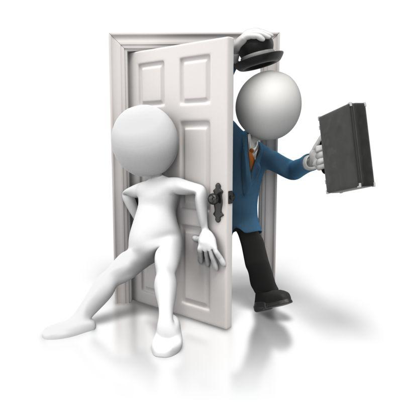 Clipart - Shutting Door on Salesman