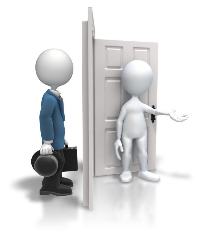 Clipart - Open Door Welcoming Salesman