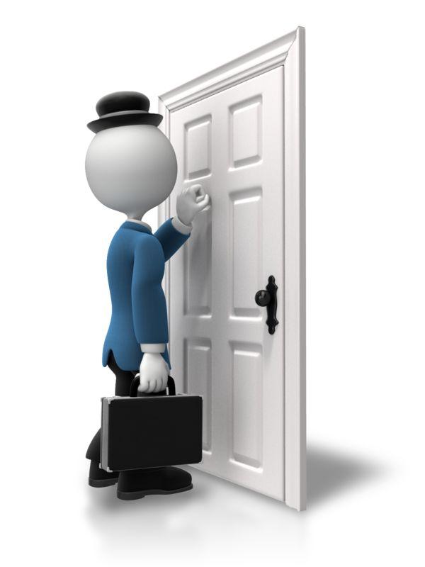 Clipart - Salesman Knocking On Door
