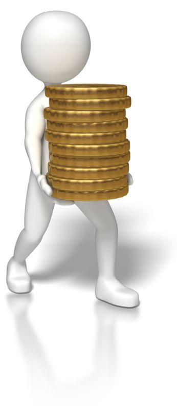 Clipart - Stick Figure Carrying Gold Coins