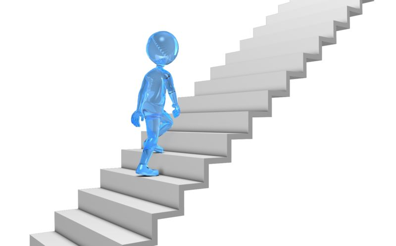 Clipart - Glass Stick Figure Walking Up Stairs