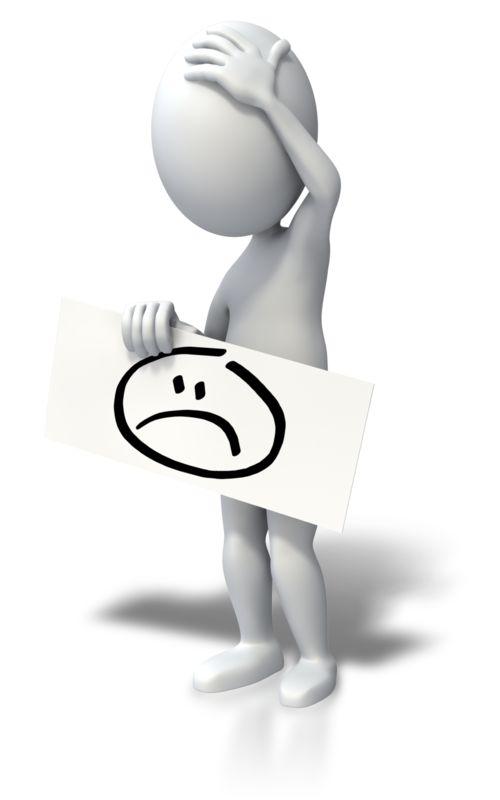 Clipart - Sad Face Stick Figure Sign