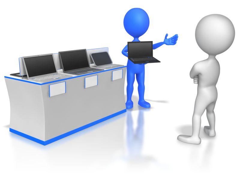 Clipart - Slaes Stick Figure Selling Computers