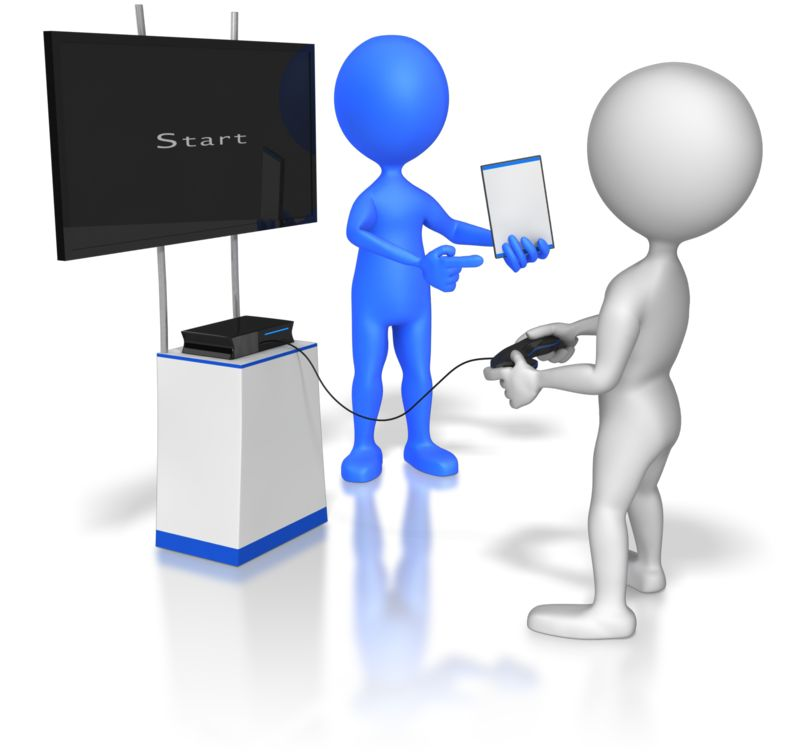 Clipart - Sales Stick Figure Selling Video Game