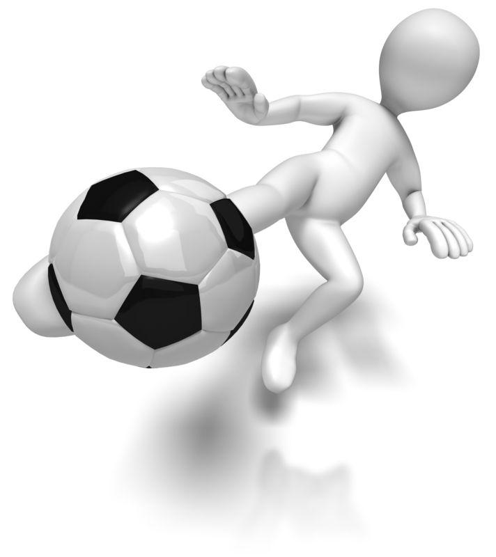 Clipart - Stick Figure Kicking Soccer Ball