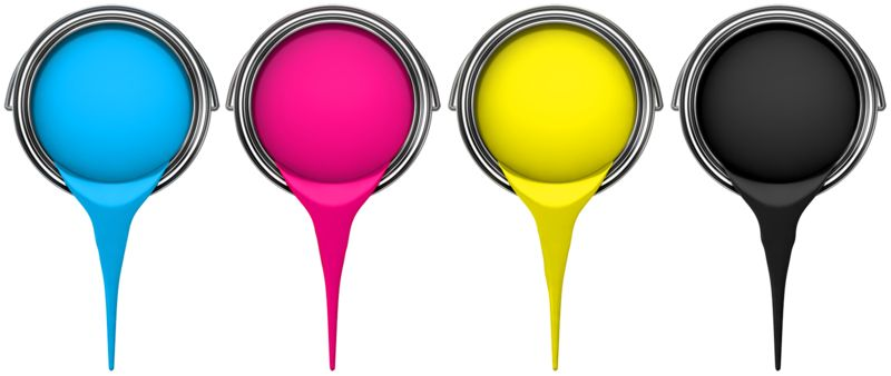 Clipart - Cmyk Buckets Pouring Paint