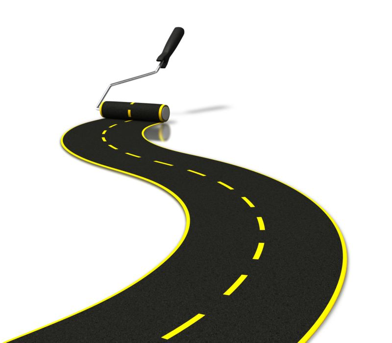 Clipart - Painting Road With Roller