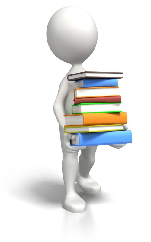 Clipart - Stick Figure Carrying Book Load
