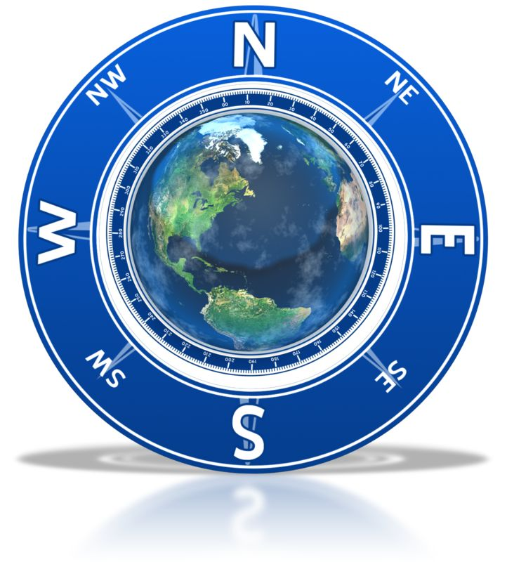 Clipart - Compass Around the Earth