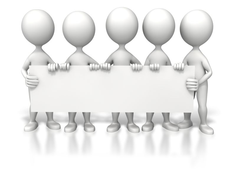 Clipart - Group Holding Long Sign