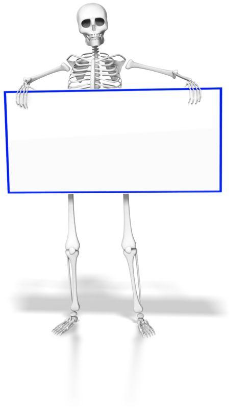 Clipart - Skeleton Holding Blank Sign