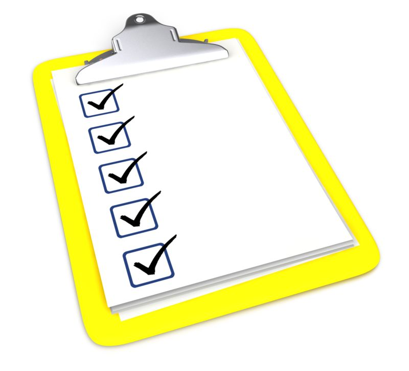 Clipart - Clipboard With Five Checkmarks