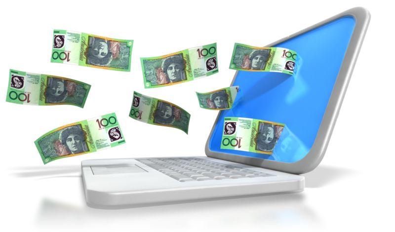 Clipart - Australian Money Through Laptop