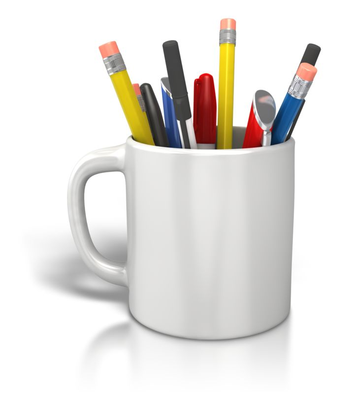 Clipart - Coffee Cup Pens Pencils