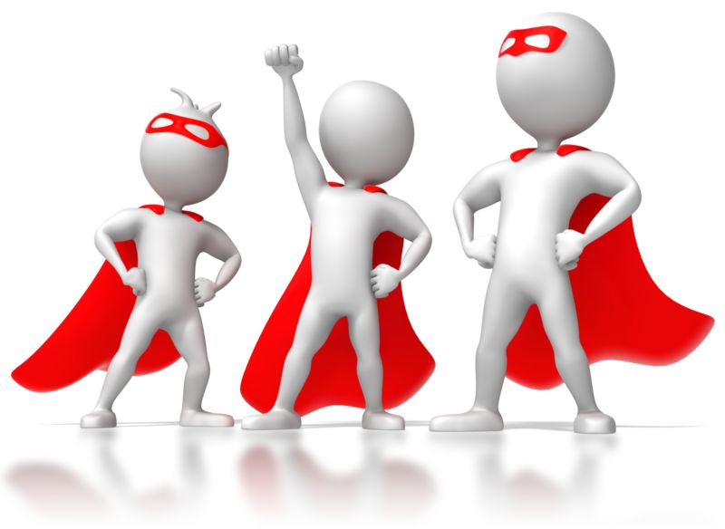 Clipart - Three Stick Figure Superheros