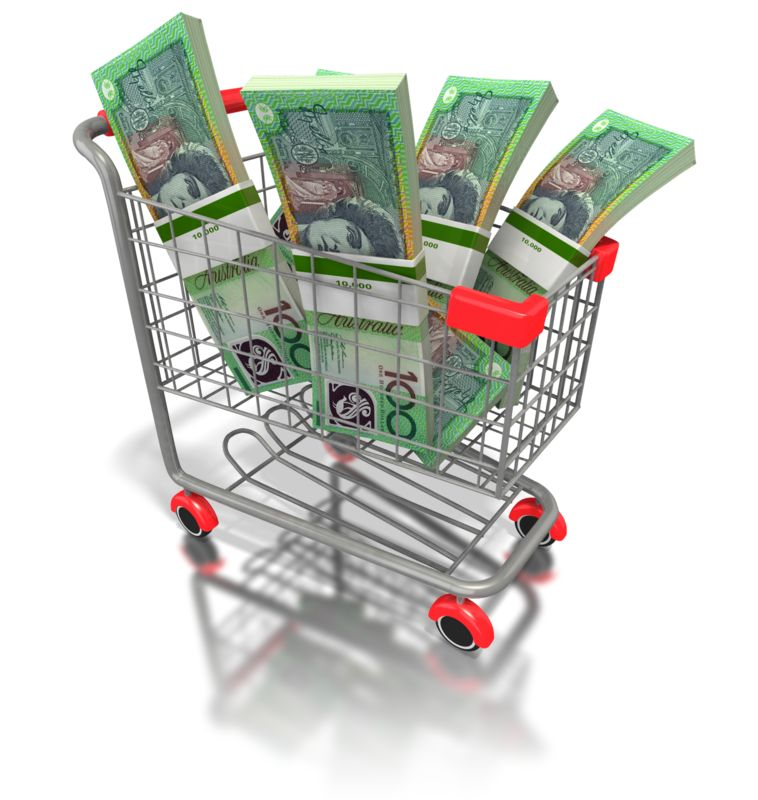 Clipart - Shopping Cart with Australian Money
