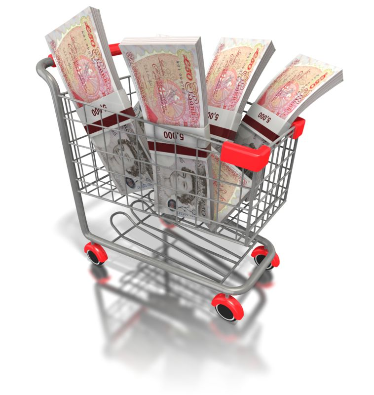 Clipart - Shopping Cart British Money