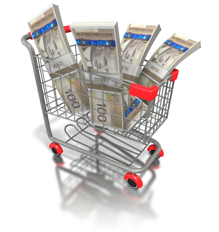 Clipart - Shopping Cart with Canadian Money